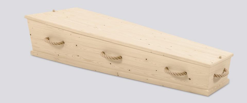 Kist van naaldhout met touwgrepen
